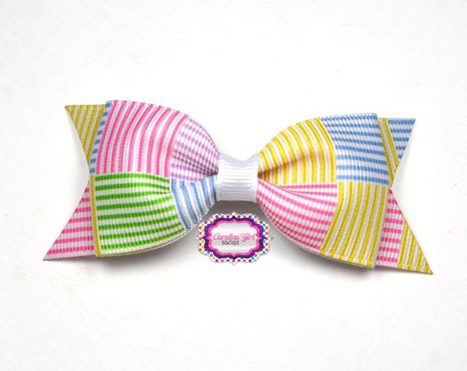 "Seersucker Inspired ~ 3.5"" Hairbow ~ Lilly Inspired ~ Small Hair Bow ~ Girls Barrette ~ Toddler Bow ~ Hair Clip ~ Girls Hair Bow"