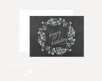 Floral Wreath Chalkboard Birthday Card