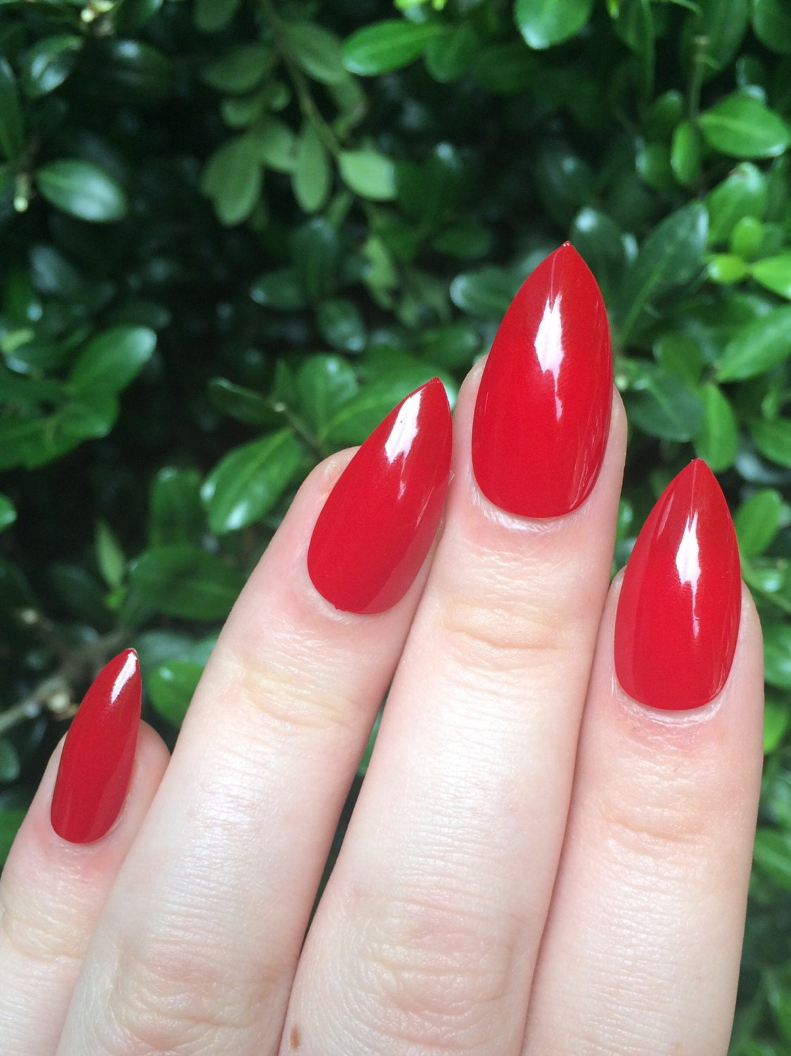 Red nails fake nails stiletto nails