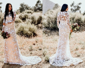 Embroidered Flowers Boho Lace Long Sleeve Mermaid Hourglass WEDDING Maxi Dress Gown  Modest LDS Fully Lined W/ Train Saldana Vintage