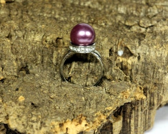 Vintage silver ring with purple bead-size 6 Diameter bead 1 cm * FREE SHIPPING *