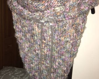 Hand Knit Gray Multi-Color BOHEMIAN Elven FAIRY LIGHTS Pullover Poncho Cowl Scarf