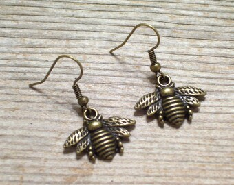 Antiqued Brass Bee Earrings, Bee Jewelry, Nature Earrings, Woodland Jewelry, Brass Honeybee Earrings
