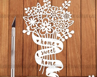 SVG / PDF Home Sweet Home Papercut Template | New Home | Wedding Gift Cut Your Own | Vinyl Cut Files | Silhouette Cameo Cricut | Home Decor