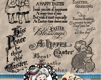 Easter Set 3 Vintage, Ephemera, Digital Stamps, Photography Overlays, Clipart, Digi,  Word Art Sentiments ID:NV-WA0049 By Nana Vic