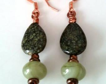 GREEN SERPENTINE DROP Dangle Earrings. Small Gemstone Dangle Earrings with Copper and Green Stone. Green Stone Drop Earrings.