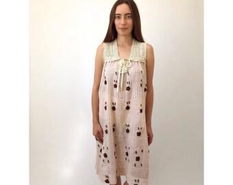 Blush Gauze Dress // vintage 70s 1970s cotton crochet boho ethnic dress top shirt hippie hippy embroidered sun midi Mexican // S/M