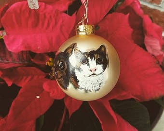 2 Portraits - Hand Painted Pet Portrait Christmas Ornament (2 pets on 1) With Bow and Tree Hook