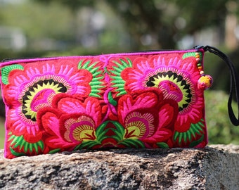 Bohemian Clutch bag Cosmetic bag  Makeup bag Womens Clutch Hmong Ethnic Clutch Bag Flower Embroidered Clutch Wedding Gift Purse Wallet Pouch