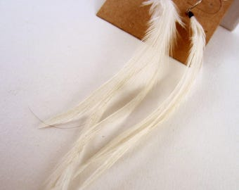 small white feather earrings dangler natural feathers