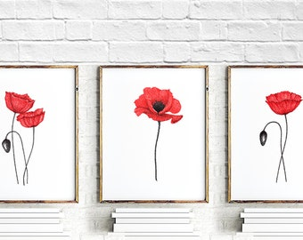 Red Poppies Set of 3 prints, Poppy Home Decor, Abstract Flower Painting, Flowers Art Print, Poppy art, minimalist painting, Floral Gift Idea