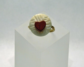 SALE - Wire-wrapped Ring - Red Jasper Heart and Carved Bone Gem Bead - Size 7