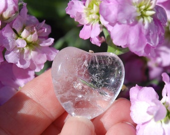 Clear QUARTZ Heart Stone | Clear Heart Stone | Clear Quartz Crystal | Crystals WEDDING FAVORs | Wedding Energy Crystals | Clear Pocket Stone