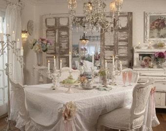 "By The Yard  Fabric White Belgian 100% Linen Wide Width by Rachel Ashwell Shabby Chic 106"" width"