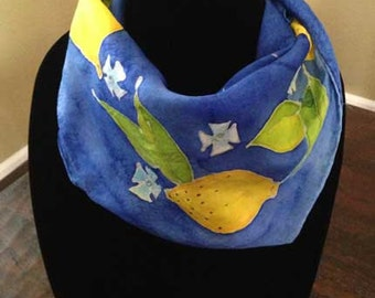 "Hand-Painted Square Silk Scarf: ""Capri Lemons"" - Yellow Lemons, Leaves and Buds on Royal Blue Background"