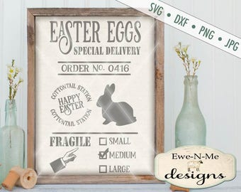 Easter Egg SVG - Easter Bunny svg - Easter SVG - farmhouse easter cut file - easter egg delivery svg - Commercial Use svg, dxf, png, jpg