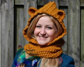 Crochet Bailey Bear Hooded Cowl READY TO SHIP
