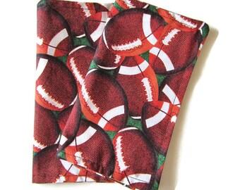 Kids Cloth Napkins, Cotton Napkins, Set of 2, Lunchbox Napkins, Eco Friendly, Washable, Double Sided, 2 Ply, Football Print