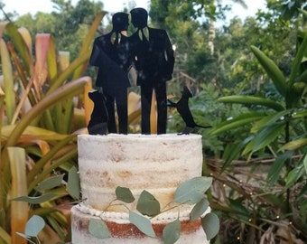 MADE In USA, Gay Wedding Cake Topper + DOG Same Sex Mr & Mr Cake Topper Gay Cake Topper Gay silhouette Homosexual Wedding Topper Men Gift