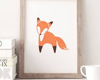 Fox Wall Art, Fox Nursery Print, Fox Print, Woodland Animal Wall Art, Kids Nursery Decor, Animal Nursery Art, Boho Nursery Art, Fox Poster