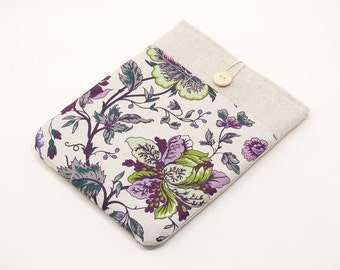 30% OFF SALE iPad Air Case with violet flowers pocket and button closure. Padded Cover for iPad Air 1 2. iPad Air Sleeve Bag.