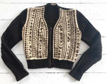 1940's Women's Hand Knit, Hand Embroidered Wool Cardigan SMALL
