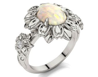 Opal engagement ring, Flower Engagement Ring, Opal Flower ring, Unique engagement ring,Opal leaves ring, White Gold Opal ring, 2078