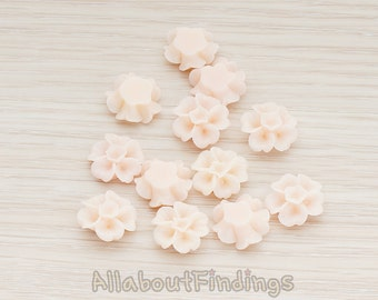 CBC138-PE // Peach Colored Morning Glory Flower Flat Back Cabochon, 6 Pc