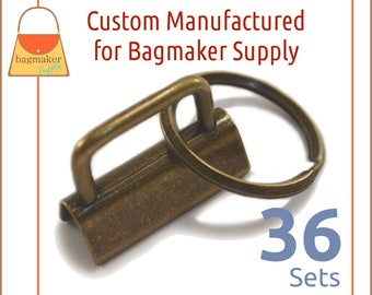 "1-1/4 Inch Key Fob Hardware, Antique Brass / Bronze Finish, 36 Sets, 1.25"", Purse Handbag Hardware, Jewelry Supply, KRA-AA009"