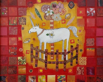 Unicorn in Captivity in Red and Gold