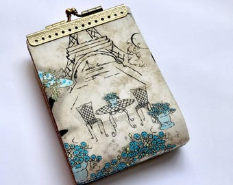 Eiffel Paris womens credit card holder wallet, Business card case, card organizer, kiss lock  purse, gift for her, fold card case
