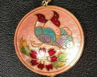 Cloisonne pendant necklace with butterfly and flowers on peach background vintage jewelry