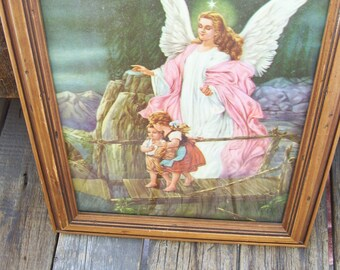 Religious Guardian Angel with Children Christian Home Angel with Children  Wood Frame Glass