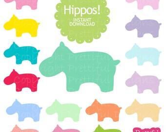 Hippo Clip Art Silhouette Digital Scrapbooking Invitations Paper Goods Card Making Mega Set