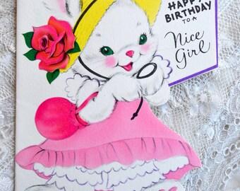 Vintage Birthday Card - To a Nice Bunny Rabbit Girl - Used