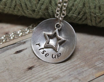 "Hamilton inspired ""rise up"" Necklace - Inspirational - Jewelry - Not Throwing Away My Shot - Broadway Musical Theater Fan - Gift"