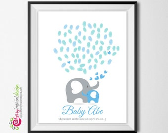 Baby Sprinkle Mom and Baby Elephant Fingerprint - Baby Shower Guest Book - Adorable Elephants Hugging - DIY Printable