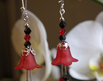 Red Fairy Flower Earrings