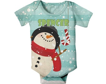 Snowman Bodysuit, Personalized Baby's First Chrismas Onepiece, Holiday Clothing