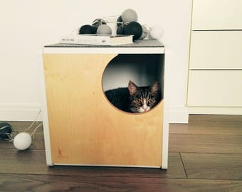 Cosy plywood cat house, modern design cat bed, gift for cat lover, safe cat cabinet,felt top, cat furniture, PurrFur