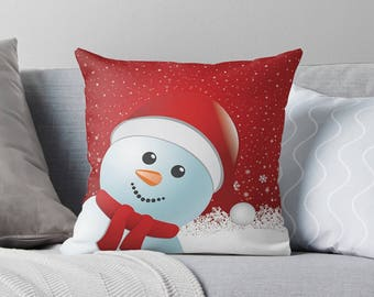Christmas Snowman Pillow | Christmas Decoration | Holiday Pillow | Holiday Pillow Covers | Christmas Pillow - Throw Pillow Cover