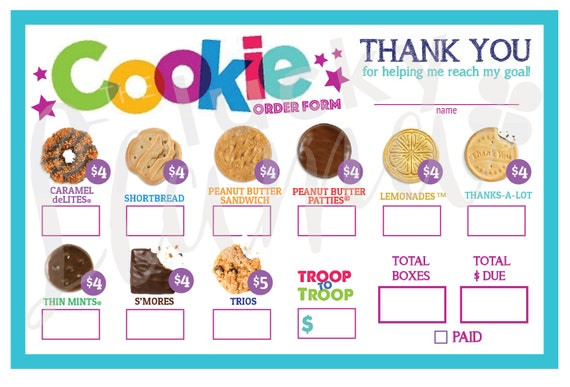 Simplicity image with girl scout cookie order form printable