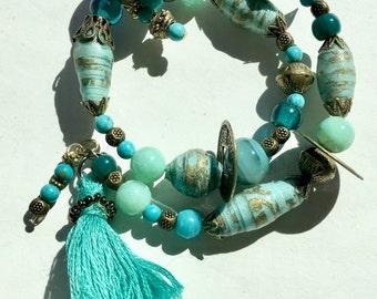 Gyspy Melodies - wrap around paper bead bracelet