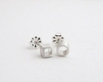 Mismatched Earrings, Silver Studs, Geometric Studs, Mismatch Studs, Small Stud Earrings, Sterling Silver, Asymmetrical Earrings