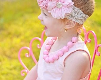 Peach Mauve Headband, Pink Baby Headband, Mauve Pink Peach Flowers, Ivory Lace Headband, Newborn Photo Prop, Baby Shower Gift, Flower Girl