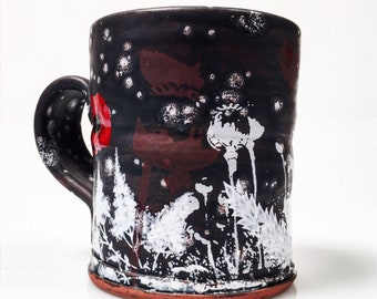 Mug with matte glaze and crystals