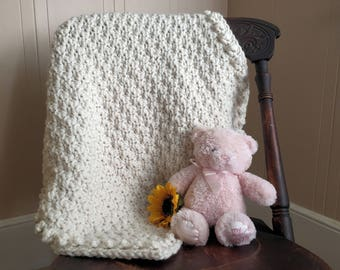 Crocheted Baby Blanket // Cherished Moments Blanket // Chunky Wool Blend // Baby Shower Gift