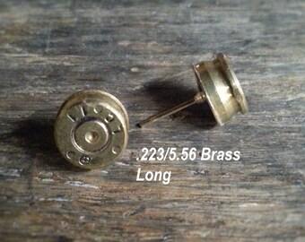 Brass Bullet Post Earrings