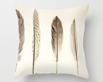 Feathers Print Throw Pillow with Insert // Neutral Home Decor // Feather Print Throw Pillow  // Decorative Pillow - Feather Collection
