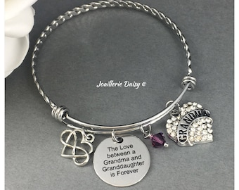 Gift for Grandma Bangle Bracelet The Love between a Grandma and Granddaughter is Forever Grandmother Birthday Gift Idea Charm Bracelet